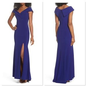 Xscape Off the Shoulder Gown in Electric Blue (C)